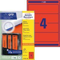 Avery Zweckform No. L4766-100 univerzális 61 x 192 mm méretű, piros színű öntapadó iratrendező címke A4-es íven - 400 címke / doboz - 100 ív / doboz (Avery L4766-100)