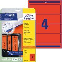 Avery Zweckform No. L4766-20 univerzális 61 x 192 mm méretű, piros színű öntapadó iratrendező címke A4-es íven - 80 címke / csomag - 20 ív / csomag (Avery L4766-20)