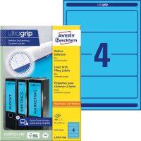 Avery Zweckform No. L4767-100 univerzális 61 x 192 mm méretű, kék színű öntapadó iratrendező címke A4-es íven - 400 címke / doboz - 100 ív / doboz (Avery L4767-100)