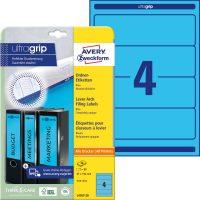 Avery Zweckform No. L4767-20 univerzális 61 x 192 mm méretű, kék színű öntapadó iratrendező címke A4-es íven - 80 címke / csomag - 20 ív / csomag (Avery L4767-20)