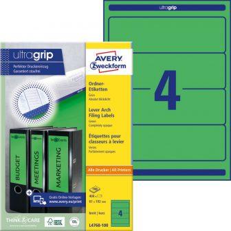 Avery Zweckform No. L4768-100 univerzális 61 x 192 mm méretű, zöld színű öntapadó iratrendező címke A4-es íven - 400 címke / doboz - 100 ív / doboz (Avery L4768-100)