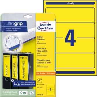 Avery Zweckform No. L4769-20 univerzális 61 x 192 mm méretű, sárga színű öntapadó iratrendező címke A4-es íven - 80 címke / csomag - 20 ív / csomag (Avery L4769-20)