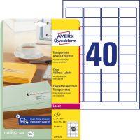 Avery Zweckform No. L4770-25 lézeres 45,7 x 25,4 mm méretű, átlátszó öntapadó etikett címke A4-es íven - 1000 címke / csomag - 25 ív / csomag (Avery L4770-25)