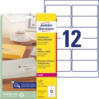 Avery Zweckform No. L4772-25 lézeres 99,1 x 42,3 mm méretű, átlátszó öntapadó etikett címke A4-es íven - 300 címke / csomag - 25 ív / csomag (Avery L4772-25)