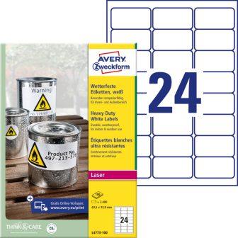 Avery Zweckform No. L4773-100 lézeres 63,5 x 33,9 mm méretű, fehér időjárásálló öntapadó etikett címke, tartós ragasztóval A4-es íven - 2400 címke / doboz - 100 ív / doboz (Avery L4773-100)