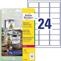 Avery Zweckform No. L4773-20 lézeres 63,5 x 33,9 mm méretű, fehér időjárásálló öntapadó etikett címke, tartós ragasztóval A4-es íven - 480 címke / csomag - 20 ív / csomag (Avery L4773-20)
