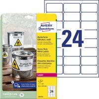Avery Zweckform No. L4773-8 lézeres 63,5 x 33,9 mm méretű, fehér időjárásálló öntapadó etikett címke, tartós ragasztóval A4-es íven - 192 címke / csomag - 8 ív / csomag (Avery L4773-8)