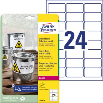 Avery Zweckform L4773-8 nyomtatható öntapadós időjárásálló etikett címke