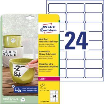 Avery Zweckform No. L4773REV-20 lézeres 63,5 x 33,9 mm méretű, fehér időjárásálló öntapadó etikett címke, visszaszedhető ragasztóval A4-es íven - 480 címke / csomag - 20 ív / csomag (Avery L4773REV-20)