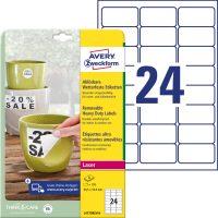 Avery Zweckform No. L4773REV-8 lézeres 63,5 x 33,9 mm méretű, fehér időjárásálló öntapadó etikett címke, visszaszedhető ragasztóval A4-es íven - 192 címke / csomag - 8 ív / csomag (Avery L4773REV-8)