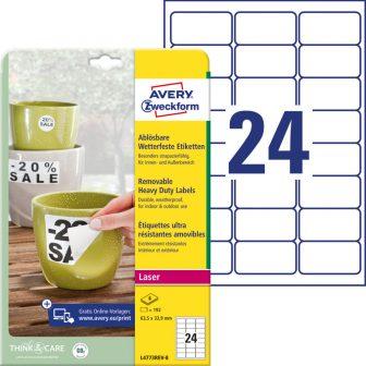Avery Zweckform L4773REV-8 nyomtatható öntapadós időjárásálló etikett címke