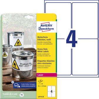 Avery Zweckform L4774-20 nyomtatható öntapadós időjárásálló etikett címke