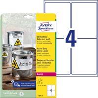 Avery Zweckform No. L4774-8 lézeres 99,1 x 139 mm méretű, fehér időjárásálló öntapadó etikett címke, tartós ragasztóval A4-es íven - 32 címke / csomag - 8 ív / csomag (Avery L4774-8)