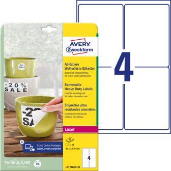 Avery Zweckform L4774REV-20 nyomtatható öntapadós időjárásálló etikett címke