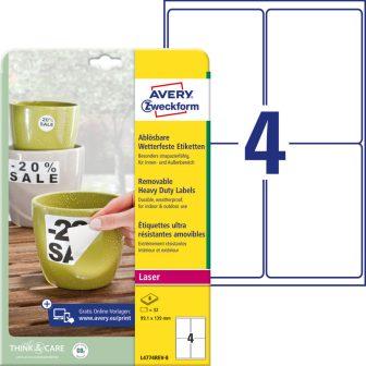 Avery Zweckform No. L4774REV-8 lézeres 99,1 x 139 mm méretű, fehér időjárásálló öntapadó etikett címke, visszaszedhető ragasztóval A4-es íven - 32 címke / csomag - 8 ív / csomag (Avery L4774REV-8)