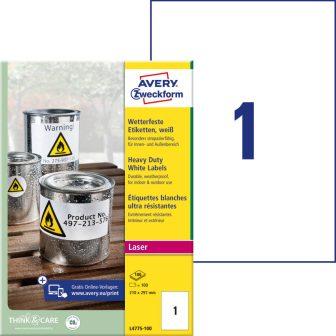 Avery Zweckform No. L4775-100 lézeres 210 x 297 mm méretű, fehér időjárásálló öntapadó etikett címke, tartós ragasztóval A4-es íven - 100 címke / doboz - 100 ív / doboz (Avery L4775-100)