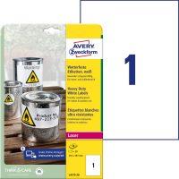 Avery Zweckform No. L4775-20 lézeres 210 x 297 mm méretű, fehér időjárásálló öntapadó etikett címke, tartós ragasztóval A4-es íven - 20 címke / csomag - 20 ív / csomag (Avery L4775-20)