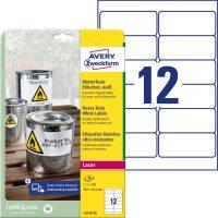 Avery Zweckform No. L4776-20 lézeres 99,1 x 42,3 mm méretű, fehér időjárásálló öntapadó etikett címke, tartós ragasztóval A4-es íven - 240 címke / csomag - 20 ív / csomag (Avery L4776-20)