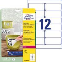Avery Zweckform No. L4776REV-20 lézeres 99,1 x 42,3 mm méretű, fehér időjárásálló öntapadó etikett címke, visszaszedhető ragasztóval A4-es íven - 240 címke / csomag - 20 ív / csomag (Avery L4776REV-20)