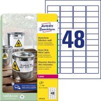 Avery Zweckform No. L4778-20 lézeres 45,7 x 21,2 mm méretű, fehér időjárásálló öntapadó etikett címke, tartós ragasztóval A4-es íven - 960 címke / csomag - 20 ív / csomag (Avery L4778-20)