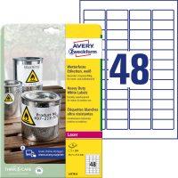 Avery Zweckform No. L4778-8 lézeres 45,7 x 21,2 mm méretű, fehér időjárásálló öntapadó etikett címke, tartós ragasztóval A4-es íven - 384 címke / csomag - 8 ív / csomag (Avery L4778-8)