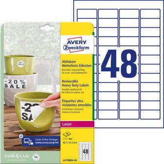 Avery Zweckform No. L4778REV-20 lézeres 45,7 x 21,2 mm méretű, fehér időjárásálló öntapadó etikett címke, visszaszedhető ragasztóval A4-es íven - 960 címke / csomag - 20 ív / csomag (Avery L4778REV-20)