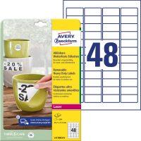 Avery Zweckform No. L4778REV-8 lézeres 45,7 x 21,2 mm méretű, fehér időjárásálló öntapadó etikett címke, visszaszedhető ragasztóval A4-es íven - 384 címke / csomag - 8 ív / csomag (Avery L4778REV-8)