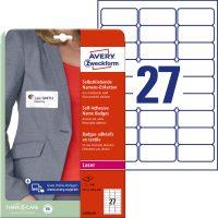 Avery Zweckform No. L4784-20 lézeres A4 fehér textilre ragasztható névcímke (méret: 63,5 x 29,6 mm, 540 címke / csomag, 20 ív / csomag) (Avery L4784-20)