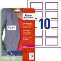 Avery Zweckform No. L4786-20 lézeres A4 fehér textilre ragasztható névcímke piros kerettel (méret: 80 x 50 mm, 200 címke / csomag, 20 ív / csomag) (Avery L4786-20)