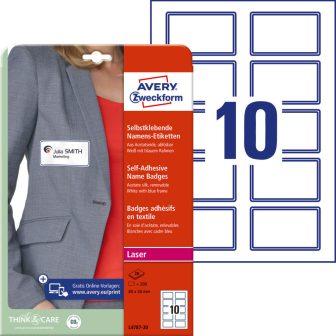 Avery Zweckform No. L4787-20 lézeres A4 fehér textilre ragasztható névcímke kék kerettel (méret: 80 x 50 mm, 200 címke / csomag, 20 ív / csomag) (Avery L4787-20)