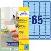 Avery Zweckform No. L4791-20 univerzális 38,1 x 21,2 mm méretű visszaszedhető, kék öntapadó etikett címke A4-es íven - 1300 címke / csomag - 20 ív / csomag (Avery L4791-20)