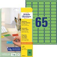 Avery Zweckform No. L4792-20 univerzális 38,1 x 21,2 mm méretű visszaszedhető, zöld öntapadó etikett címke A4-es íven - 1300 címke / csomag - 20 ív / csomag (Avery L4792-20)