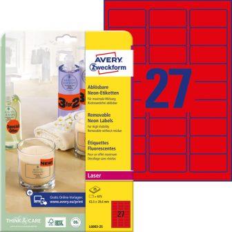 Avery Zweckform No. L6003-25 lézeres 63,5 x 29,6 mm méretű visszaszedhető, neon piros öntapadó etikett címke A4-es íven - 675 címke / csomag - 25 ív / csomag (Avery L6003-25)