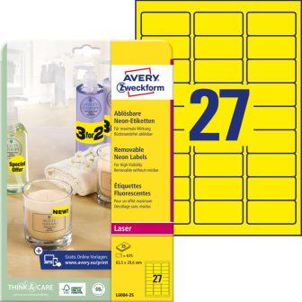 Avery Zweckform No. L6004-25 lézeres 63,5 x 29,6 mm méretű visszaszedhető, neon sárga öntapadó etikett címke A4-es íven - 675 címke / csomag - 25 ív / csomag (Avery L6004-25)