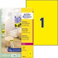 Avery Zweckform No. L6006-25 lézeres 210 x 297 mm méretű visszaszedhető, neon sárga öntapadó etikett címke A4-es íven - 25 címke / csomag - 25 ív / csomag (Avery L6006-25)