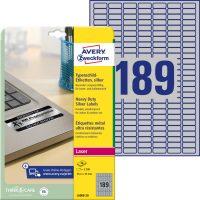 Avery Zweckform No. L6008-20 lézeres 25,4 x 10 mm méretű, ezüst ipari öntapadó etikett címke, tartós ragasztóval A4-es íven - 3780 címke / csomag - 20 ív / csomag (Avery L6008-20)