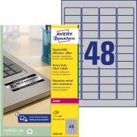 Avery Zweckform No. L6009-100 lézeres 45,7 x 21,2 mm méretű, ezüst ipari öntapadó etikett címke, tartós ragasztóval A4-es íven - 4800 címke / doboz - 100 ív / doboz (Avery L6009-100)