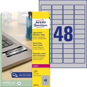 Avery Zweckform L6009-20 nyomtatható öntapadós ezüst ipari etikett címke