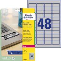 Avery Zweckform No. L6009-8 lézeres 45,7 x 21,2 mm méretű, ezüst ipari öntapadó etikett címke, tartós ragasztóval A4-es íven - 384 címke / csomag - 8 ív / csomag (Avery L6009-8)
