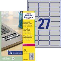 Avery Zweckform No. L6011-100 lézeres 63,5 x 29,6 mm méretű, ezüst ipari öntapadó etikett címke, tartós ragasztóval A4-es íven - 2700 címke / doboz - 100 ív / doboz (Avery L6011-100)
