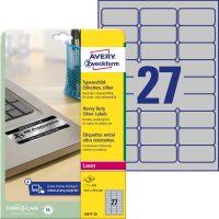 Avery Zweckform No. L6011-20 lézeres 63,5 x 29,6 mm méretű, ezüst ipari öntapadó etikett címke, tartós ragasztóval A4-es íven - 540 címke / csomag - 20 ív / csomag (Avery L6011-20)