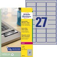 Avery Zweckform No. L6011-8 lézeres 63,5 x 29,6 mm méretű, ezüst ipari öntapadó etikett címke, tartós ragasztóval A4-es íven - 216 címke / csomag - 8 ív / csomag (Avery L6011-8)