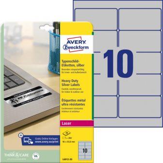 Avery Zweckform No. L6012-20 lézeres 96 x 50,8 mm méretű, ezüst ipari öntapadó etikett címke, tartós ragasztóval A4-es íven - 200 címke / csomag - 20 ív / csomag (Avery L6012-20)