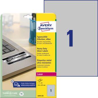 Avery Zweckform No. L6013-20 lézeres 210 x 297 mm méretű, ezüst ipari öntapadó etikett címke, tartós ragasztóval A4-es íven - 20 címke / csomag - 20 ív / csomag (Avery L6013-20)