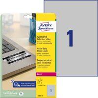 Avery Zweckform No. L6013-8 lézeres 210 x 297 mm méretű, ezüst ipari öntapadó etikett címke, tartós ragasztóval A4-es íven - 8 címke / csomag - 8 ív / csomag (Avery L6013-8)