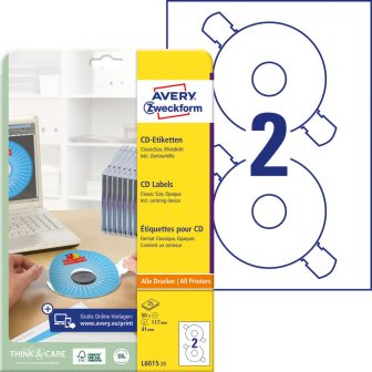 Avery Zweckform No. L6015-25 univerzális 117 mm átmérőjű, fehér öntapadó CD címke A4-es íven + központosító eszköz - 50 címke / csomag - 25 ív / csomag (Avery L6015-25)