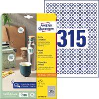Avery Zweckform No. L6019REV-25 univerzális 10 mm átmérőjű visszaszedhető, fehér öntapadó kör alakú etikett címke A4-es íven - 7875 címke / csomag - 25 ív / csomag (Avery L6019REV-25)