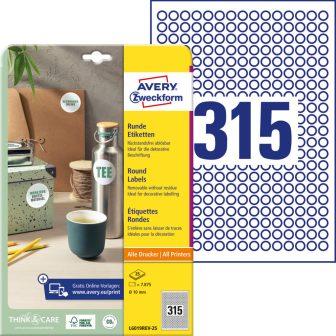 Avery Zweckform L6019REV-25 kör alakú nyomtatható öntapadós etikett címke