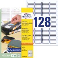 Avery Zweckform No. L6020REV-25 univerzális 43,2 x 8,5 mm méretű visszaszedhető, fehér öntapadó etikett címke A4-es íven - 3200 címke / csomag - 25 ív / csomag (Avery L6020REV-25)