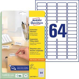 Avery Zweckform No. L6021REV-25 univerzális 45,7 x 16,9 mm méretű visszaszedhető, fehér öntapadó függőmappa címke A4-es íven - 1600 címke / csomag - 25 ív / csomag (Avery L6021REV-25)